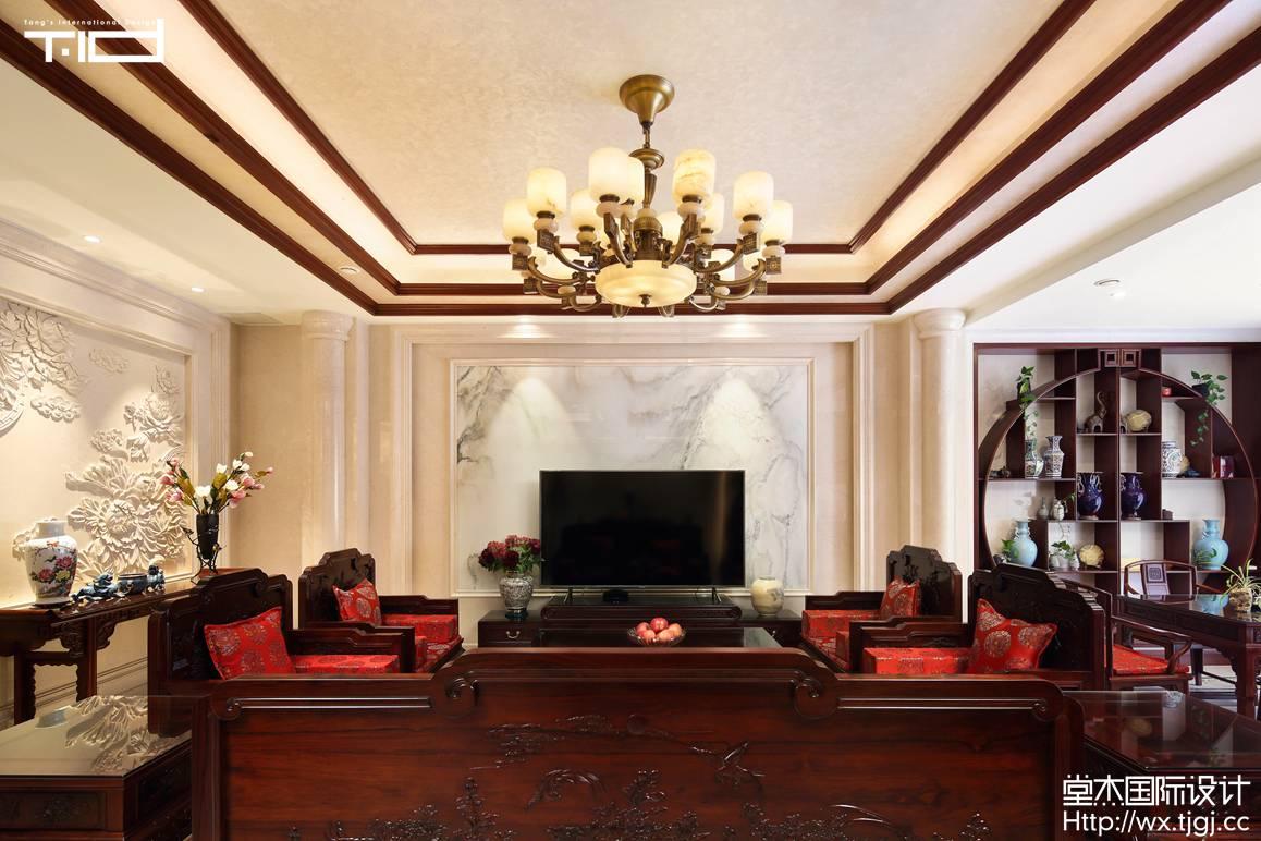 新中式风格-洛社上院-联排别墅-600平-装修实景效果图