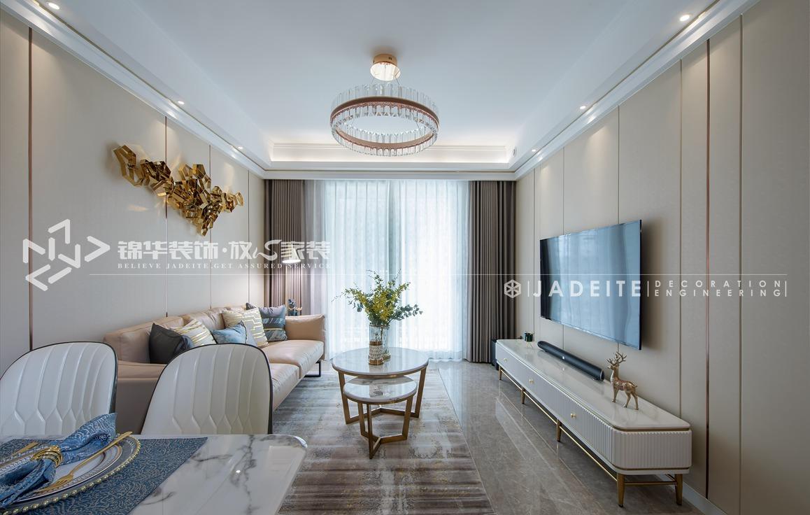 轻奢风格-运河壹号府-三室两厅-90平-装修实景效果图