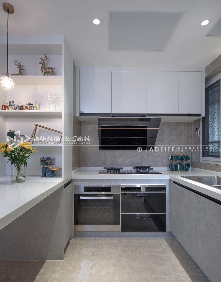 轻奢风格-运河壹号府-三室两厅-90平-厨房-装修实景效果图