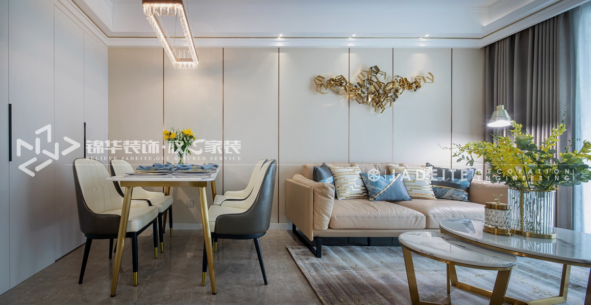 轻奢风格-运河壹号府-三室两厅-90平-客餐厅-装修实景效果图