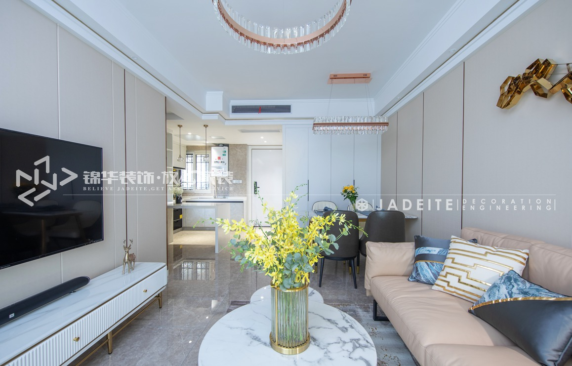 轻奢风格-运河壹号府-三室两厅-90平-客厅-装修实景效果图