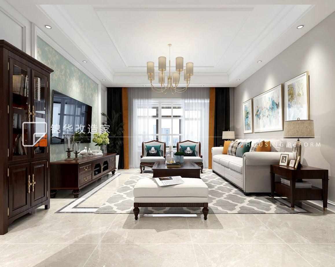 简美风格-瑜憬湾-三室两厅-115平-装修效果图