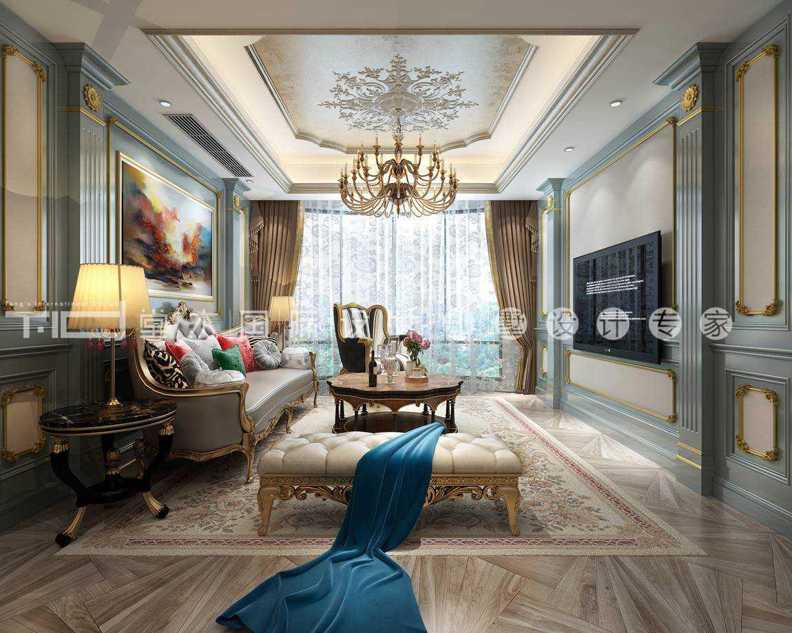 法式风格-华夏世纪锦园-联排别墅-1000平-装修效果图