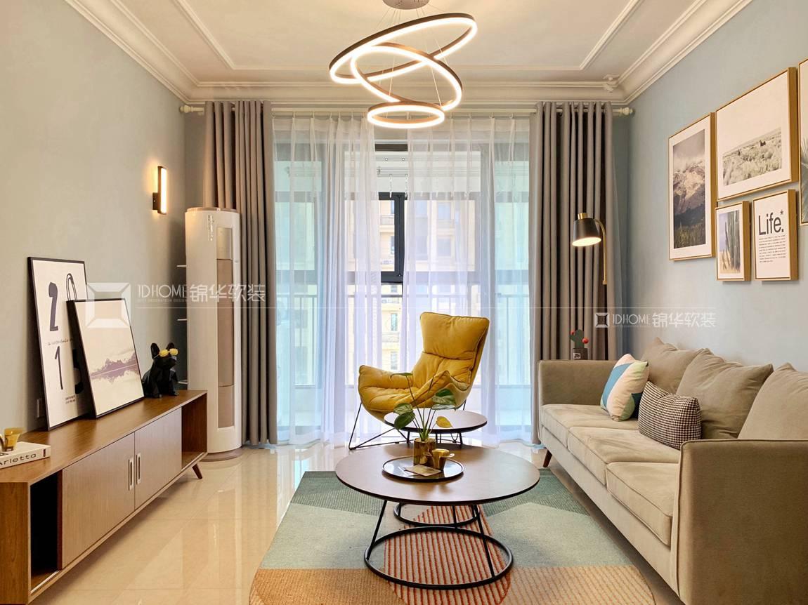 北欧风格-恒大御澜湾-三室两厅-100平-装修实景效果图