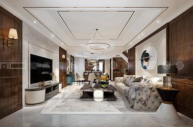 美式轻奢风格-阿卡迪亚-叠墅-217平-装修效果图