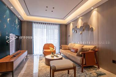 新中式风格-时代上城年华里-两室两厅-89平-装修实景效果图