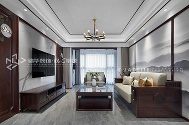 新中式-雅居乐-三室两厅-140平-装修效果实景图