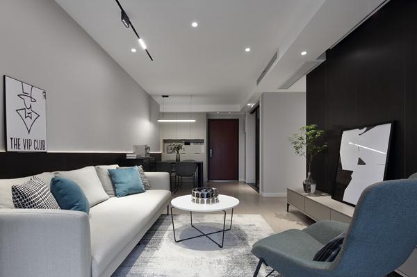 现代极简风格-九龙仓碧玺-三室两厅-90平-装修实景效果图