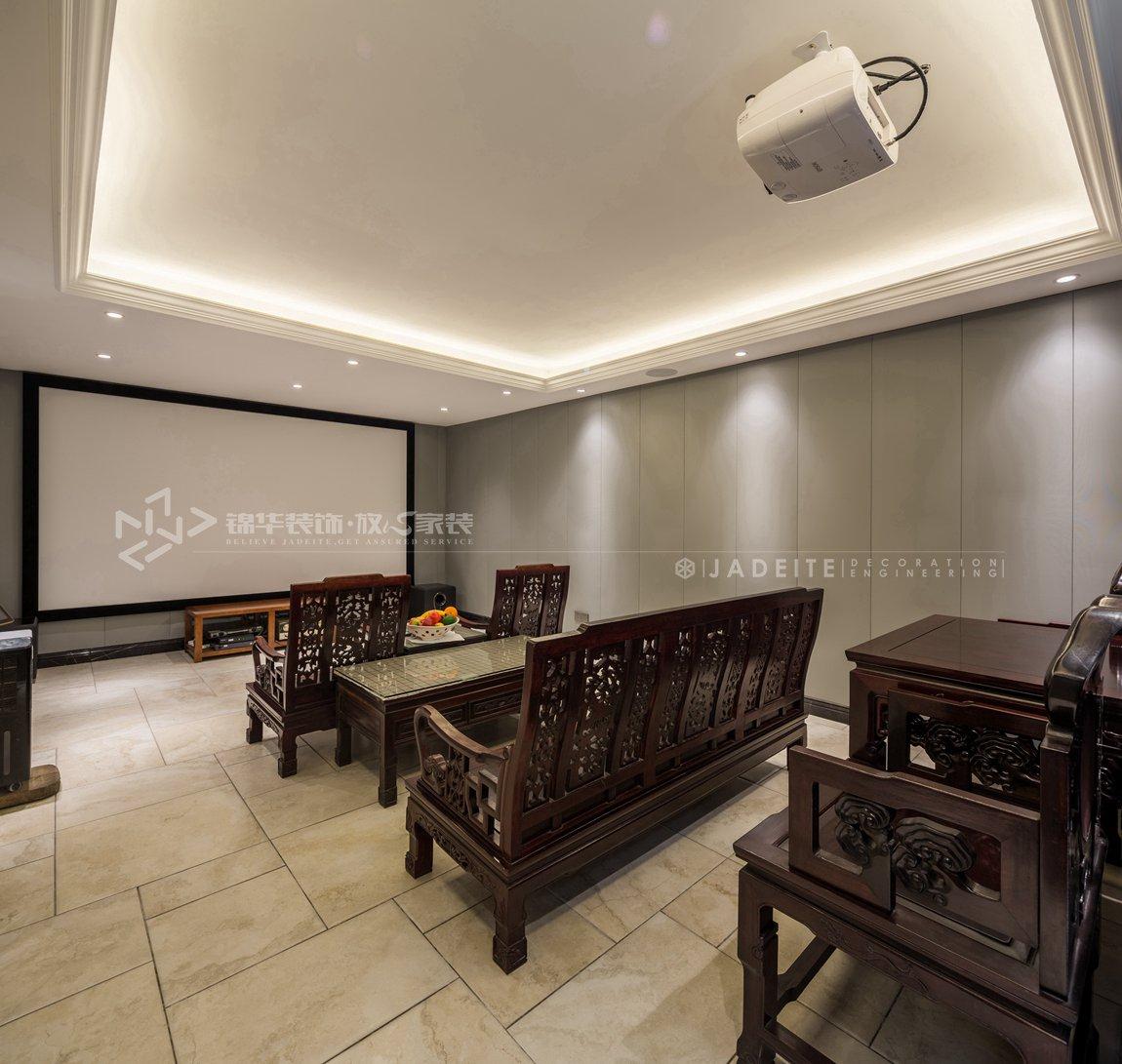 轻奢美式风格-狮山原著-四室三厅-450平-装修实景效果图-影音室
