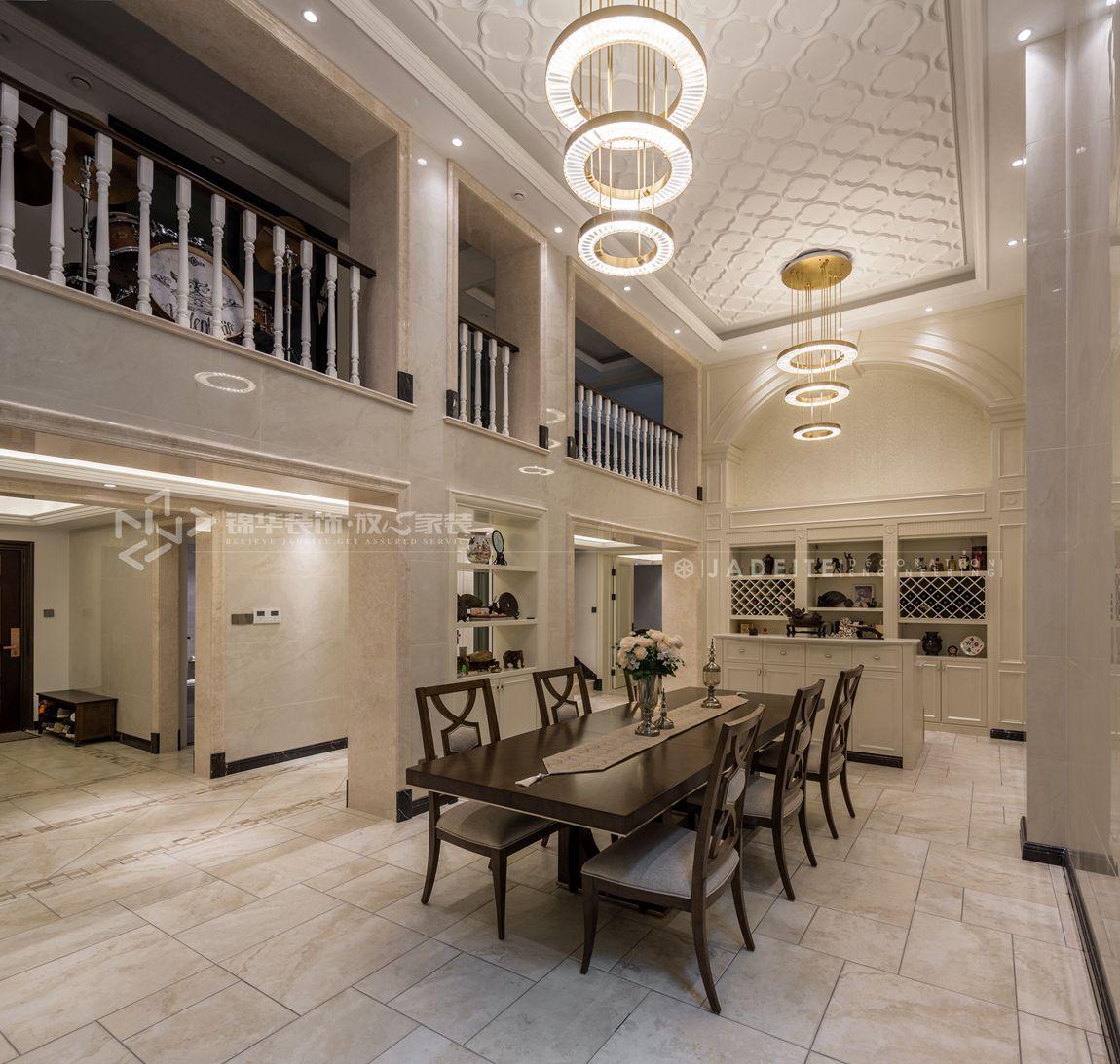 轻奢美式风格-狮山原著-四室三厅-450平-装修实景效果图-餐厅