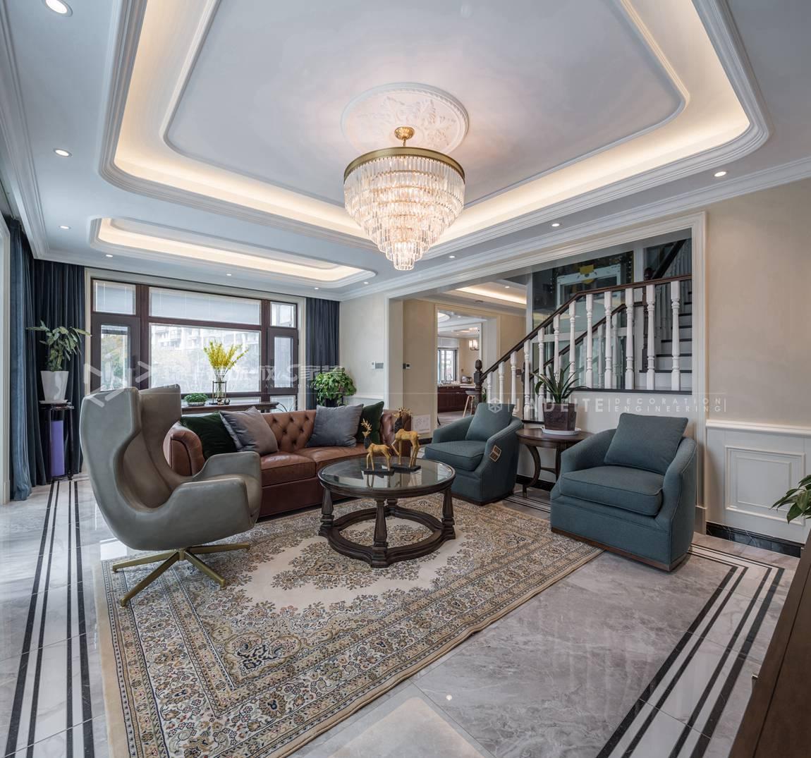 轻奢美式风格-狮山原著-四室三厅-450平-装修实景效果图-客厅