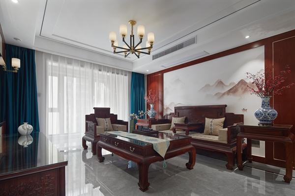 新中式风格-协信未来城-三室两厅-132平-装修实景效果图