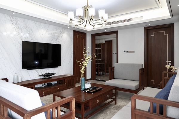 新中式风格-玉兰公馆-三室两厅-105平-装修实景效果图