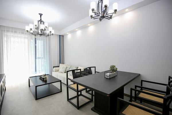 新中式风格-运河壹号府-三室两厅-89平-装修实景效果图
