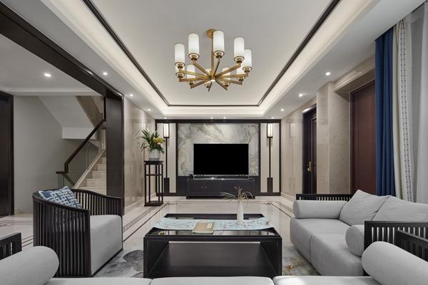 新中式-龙湖滟澜香颂-四室两厅-300平-装修实景效果图