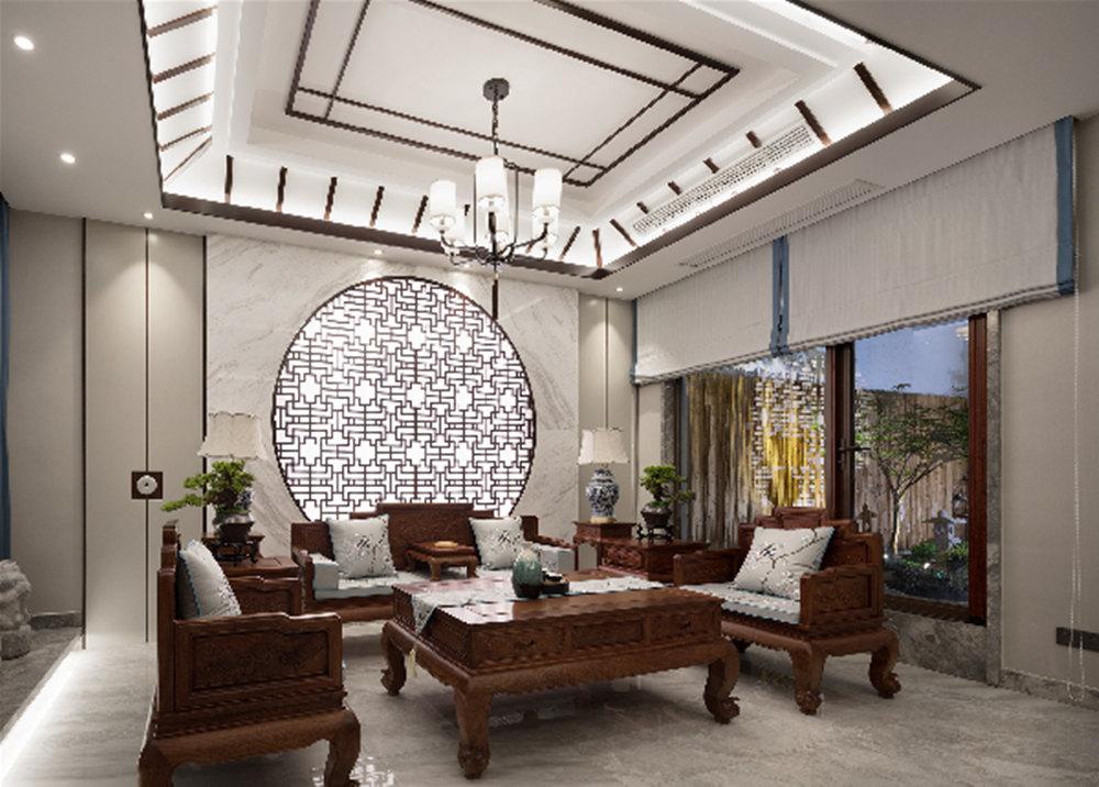新中式-清扬康城-别墅-400平-装修效果实景图