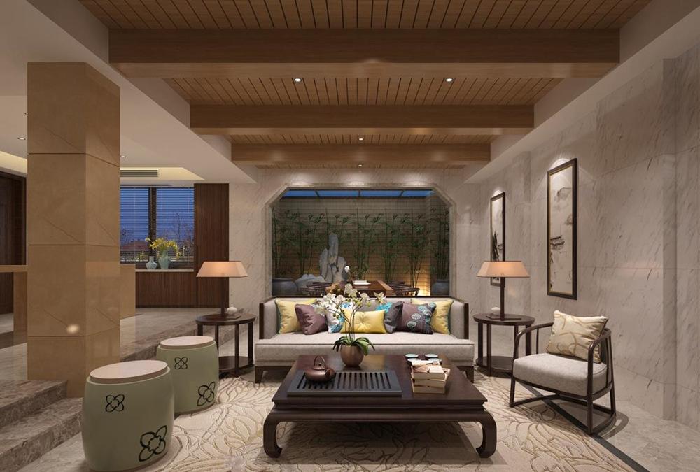 新中式风格-银河湾-别墅-400平-装修效果实景图