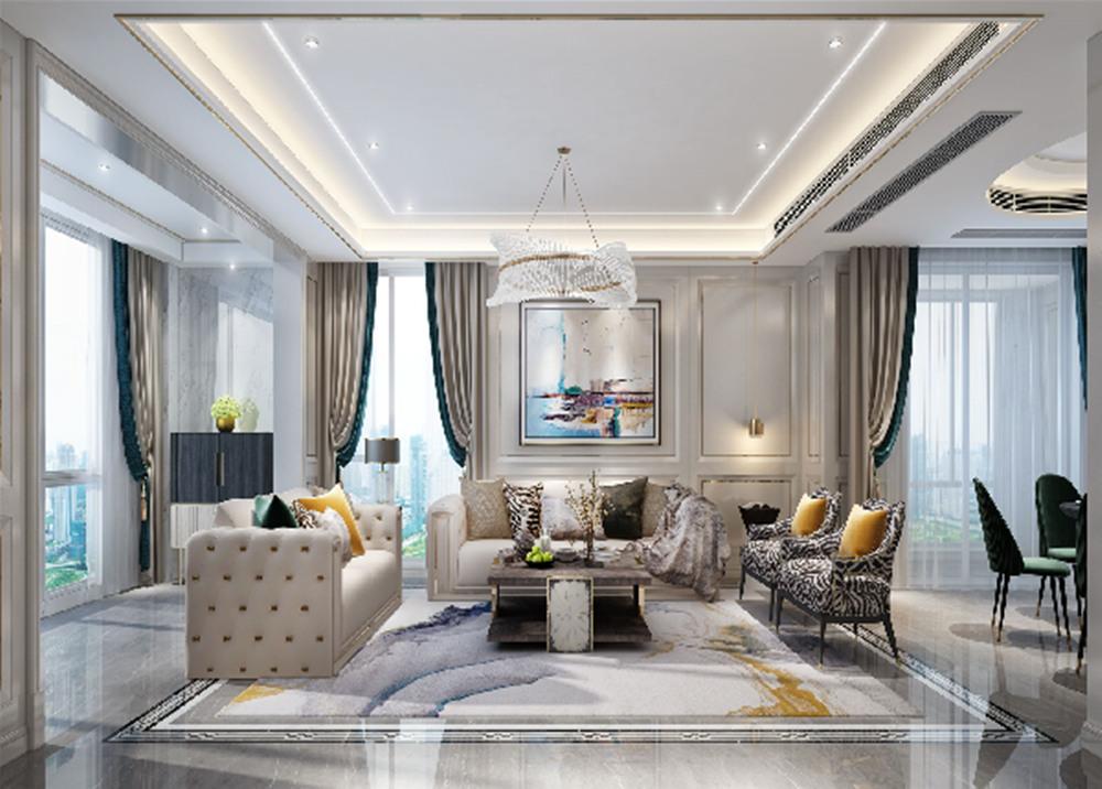 美式轻奢风格-玉兰花园-大平层-268平-装修效果图
