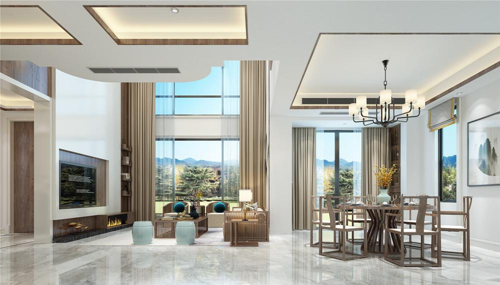 新中式风格-太湖锦绣园-独栋别墅-500平-装修效果图