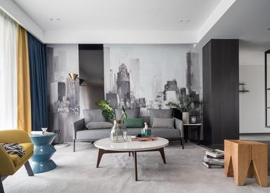 现代简约-玉兰花园-三室两厅-170平-装修实景效果图