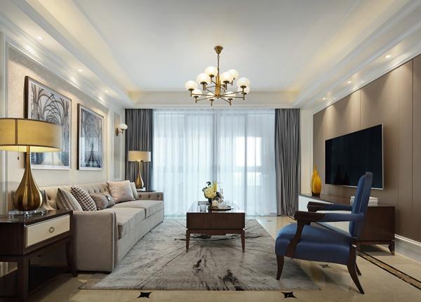 美式轻奢风格-海岸城郦园-三室两厅-135平-装修实景效果图