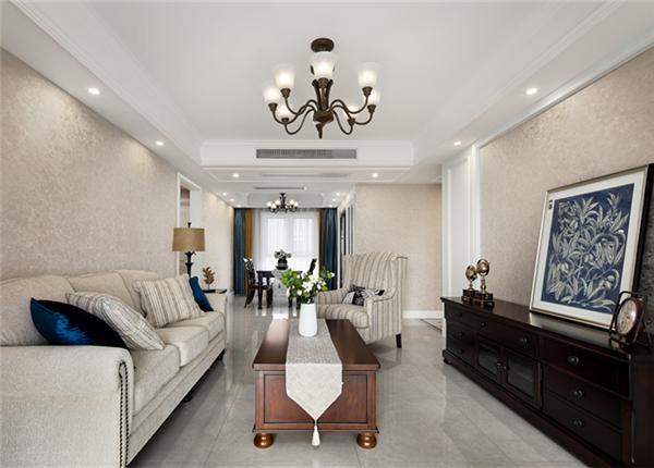 简美风格-瑷颐湾-三室两厅-125平-装修效果实景图