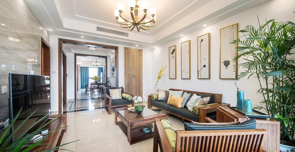 新中式风格-玉兰花园-四室两厅-178平-装修实景效果图