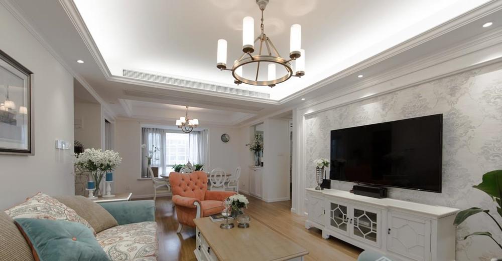 简约美式风格-繁华里-三室两厅-130平-装修实景效果图