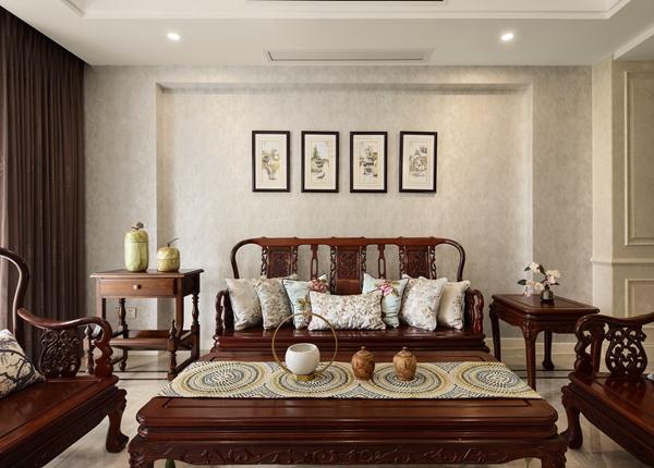 新中式-玉兰花园-三室两厅-140平-装修效果实景图
