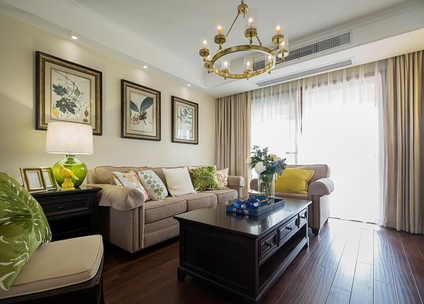 美式风格-九龙仓碧玺-三室两厅-140平-装修效果实景图