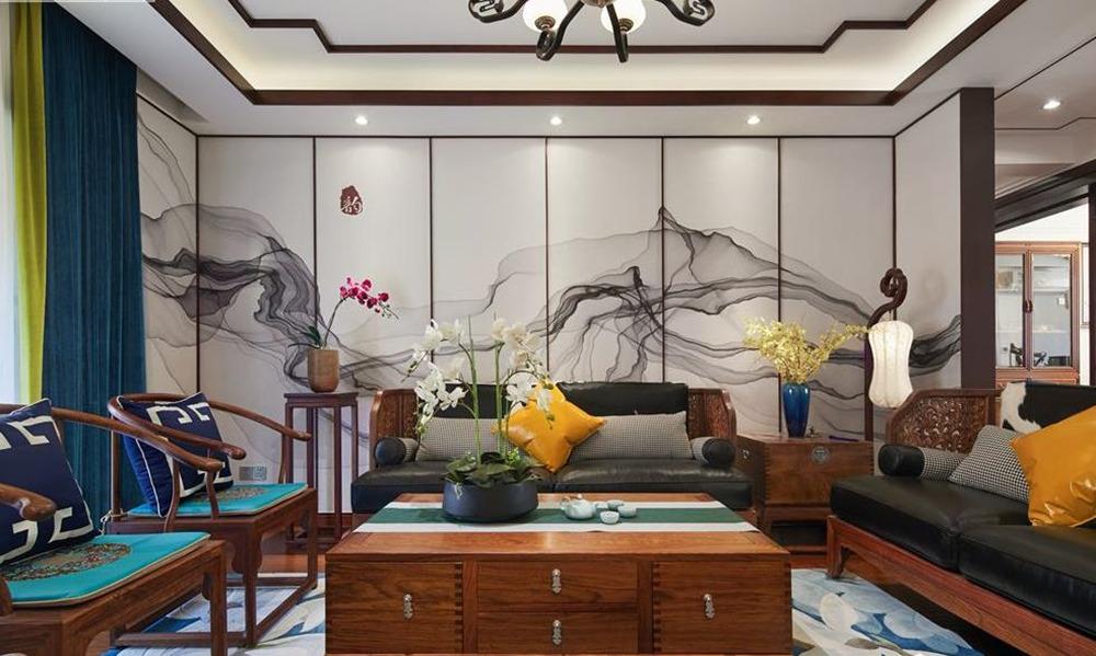 新中式风格-中建城中墅-三室两厅-156平-装修实景效果图