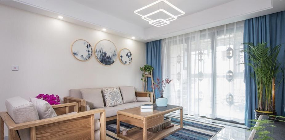 混搭风格-山水湖滨-三室两厅-100平米-装修实景效果图