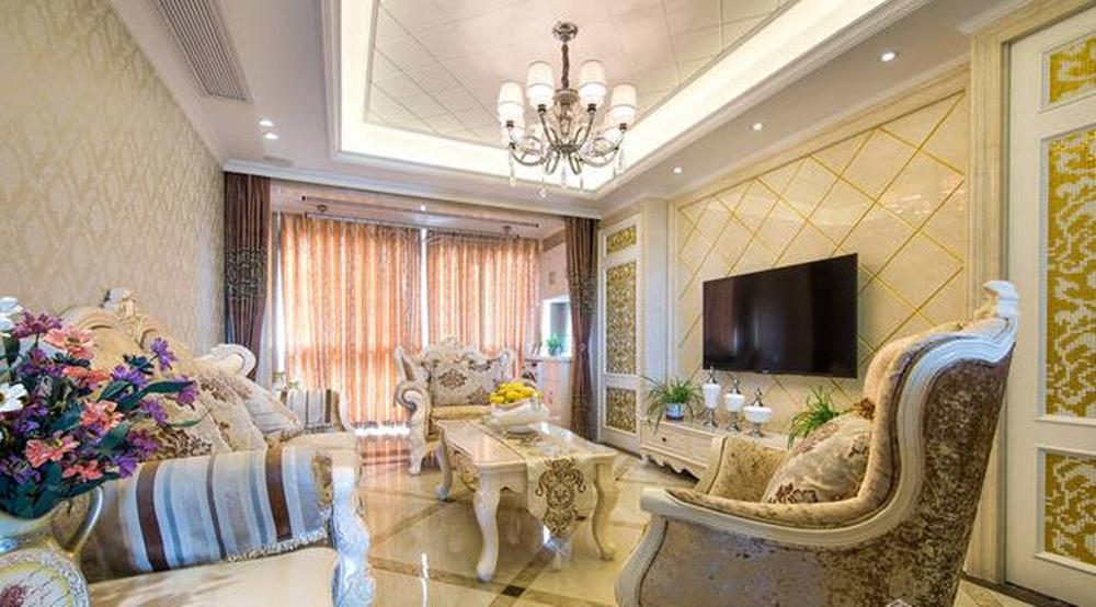 简欧风格-观山名筑-三室两厅-90+30平-装修实景效果图