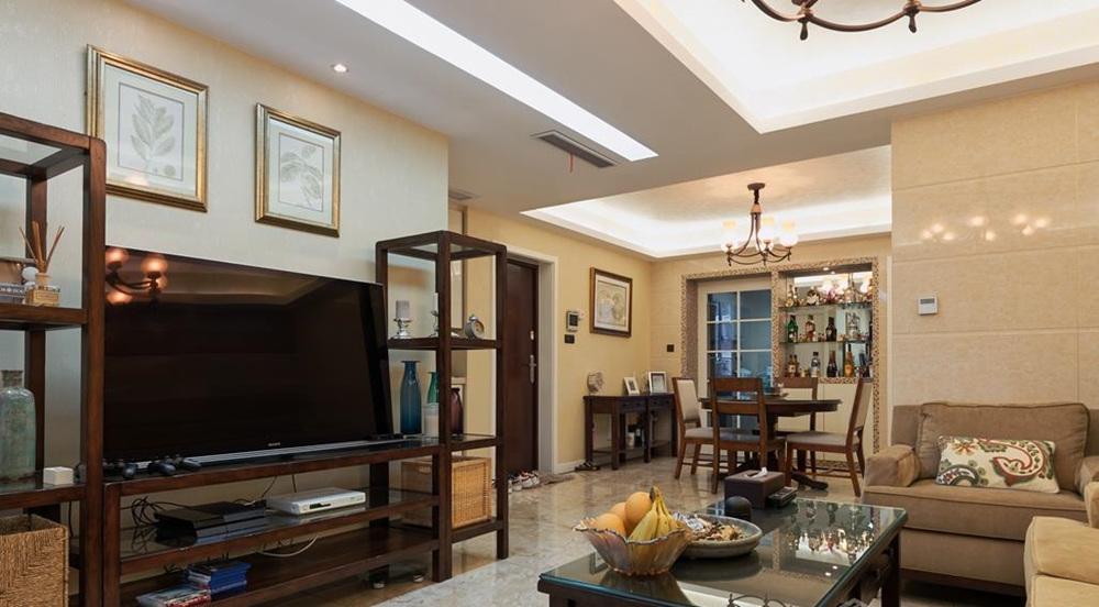 现代美式混搭风格-山语银城-三室两厅-140平-装修实景效果图