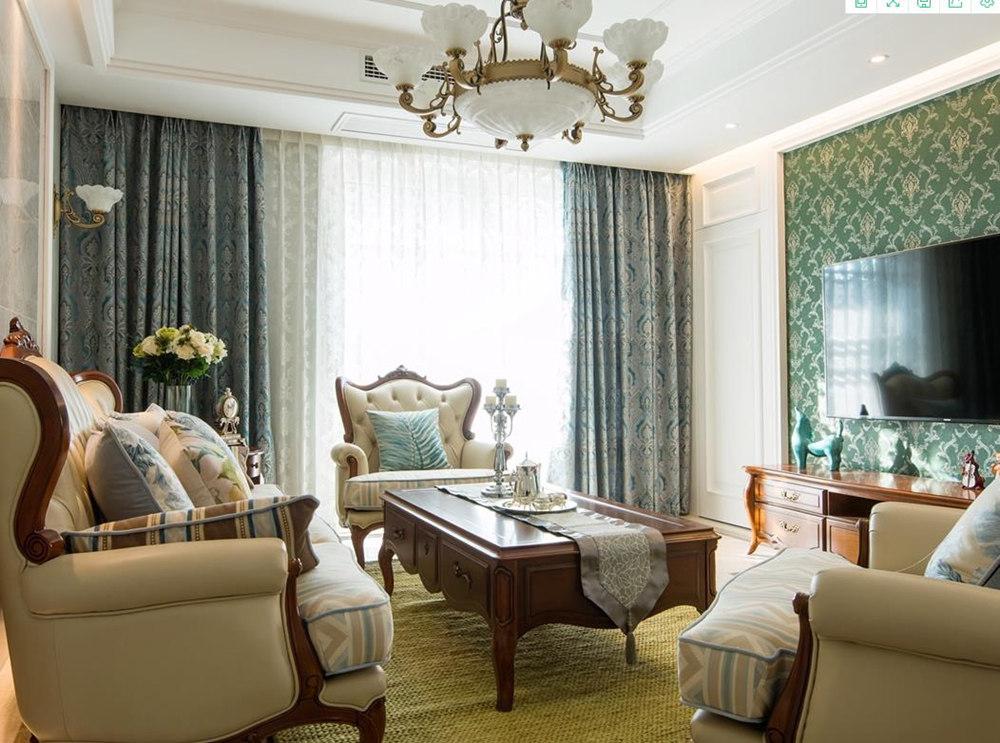 美式风格-天鹅湖花园-三室两厅-140平-装修实景效果图
