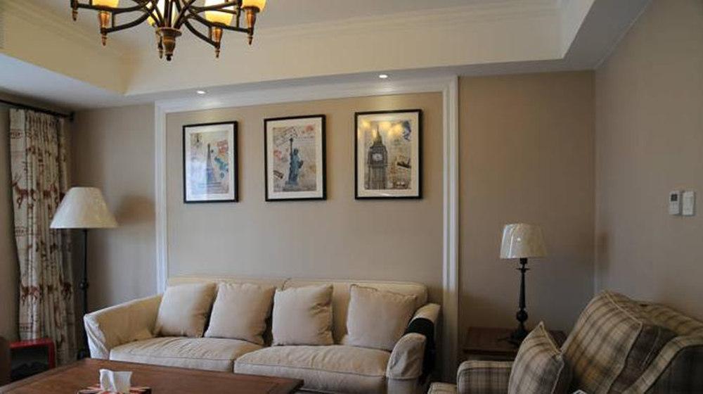简约美式风格-大丁佳苑-两室两厅-95平-装修实景效果图