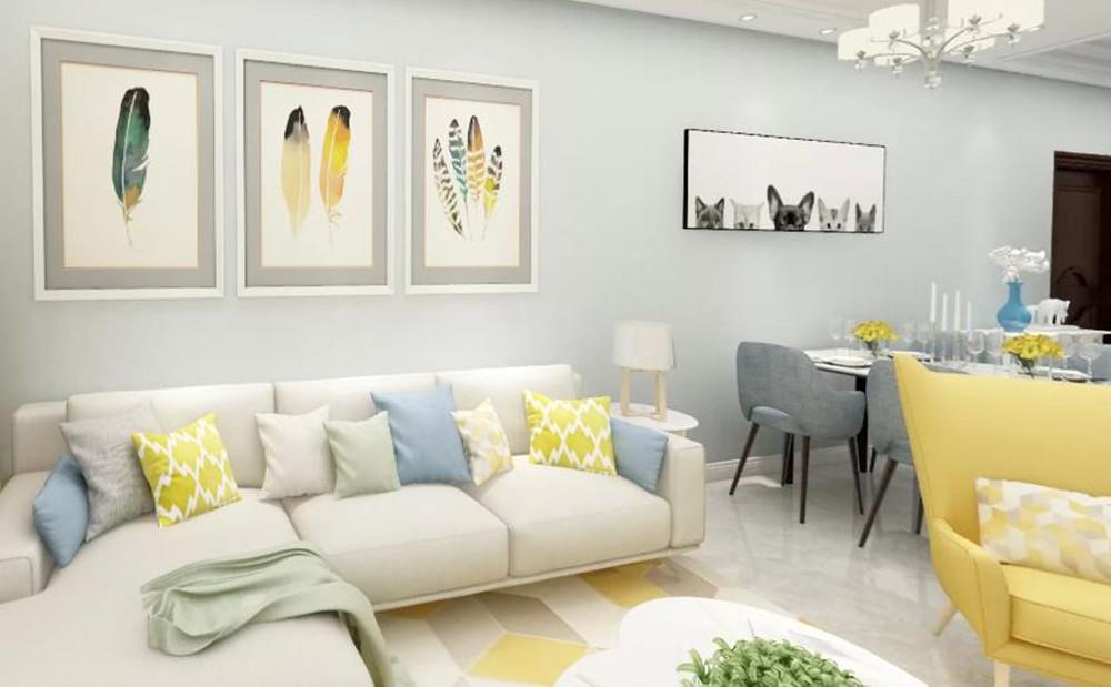 美式风格-中海凤凰熙岸-两室两厅-96平-酷家乐全景图