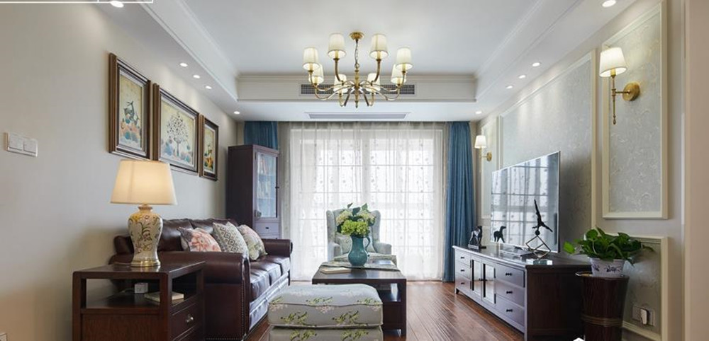 美式田园风格-印象湖滨-三室两厅-120平装修实景效果图