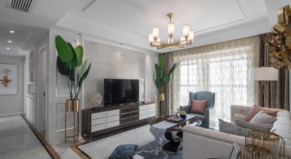 现代美式风格-中城誉品-三室两厅-115平-装修实景效果图