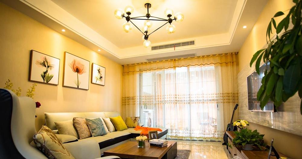 现代简约风格-保利香槟-两室两厅-89平-装修实景效果图