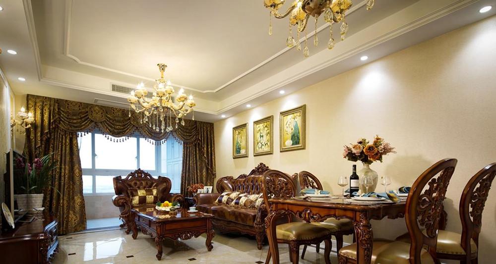 简欧风格-万达旅游城-三室两厅-109平-装修实景效果图