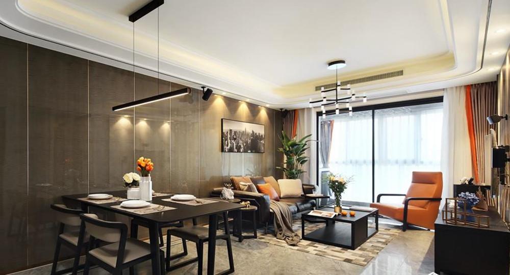 现代都市风格-时代上城-三室两厅-106平-装修实景效果图