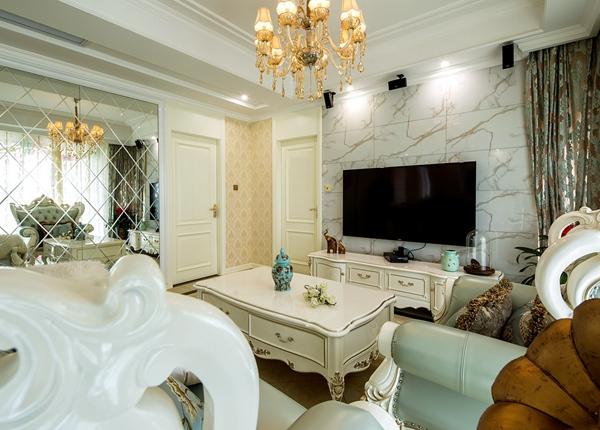 简欧风格-玉兰西花园-三室两厅-141平-装修实景效果图