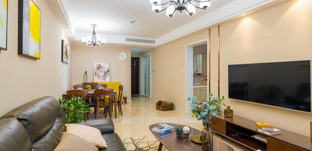 现代简约风格-万达旅游城-三室两厅-105平-装修实景效果图