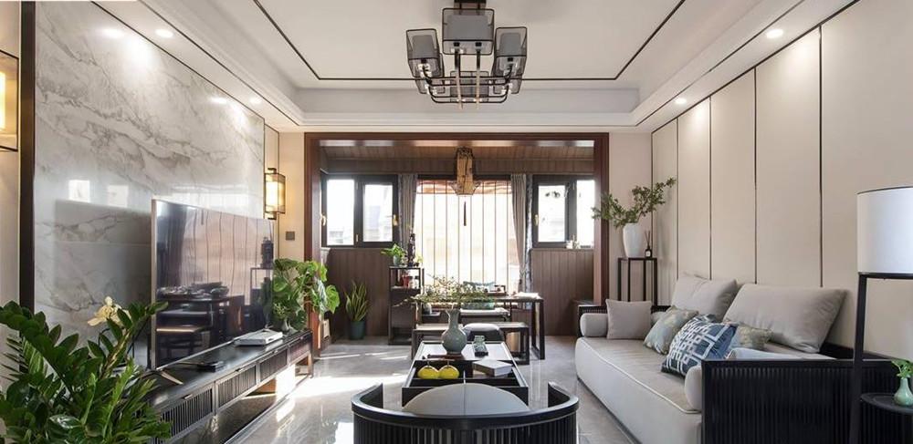 新中式风格-孔雀城-三室两厅-110平-装修实景效果图