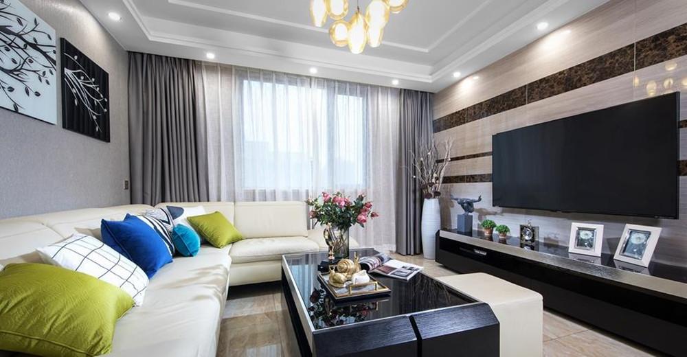 现代简约-榭丽花园-三室两厅-128平-装修效果实景图