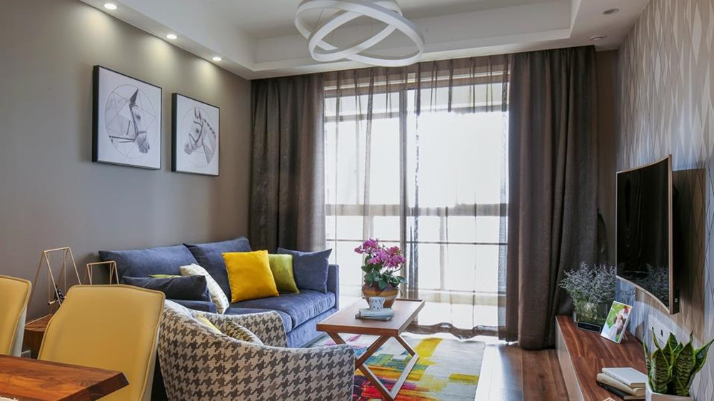 北欧风格-繁华里-三室两厅-90平-装修效果实景图