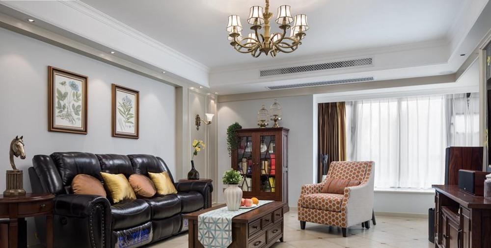 现代美式-阳光城市花园-三室两厅-120平-装修实景效果图
