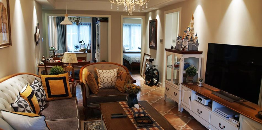 小美风格-朗诗绿卡小镇-三室一厅-87平米-装修实景效果图
