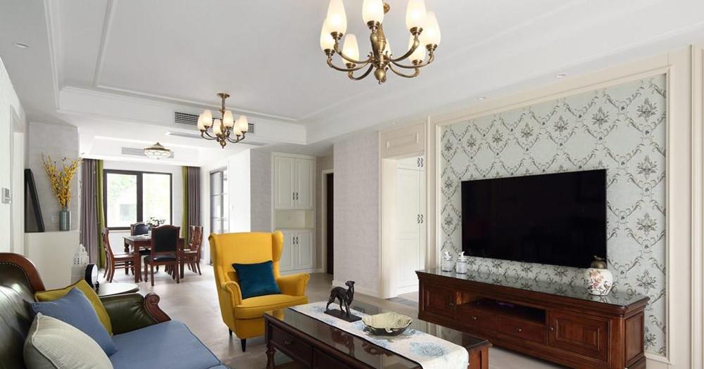 简美风格-孔雀雅园-三室两厅-124平米-装修实景效果图